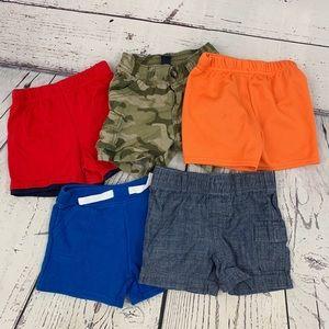 5 pairs of boys shorts 3-6M